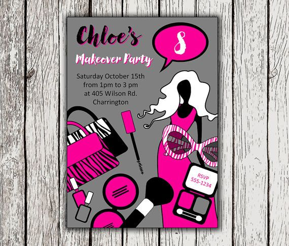 Makeover Party Invite Printable Girl Birthday Invitation – Makeover Party Invitations