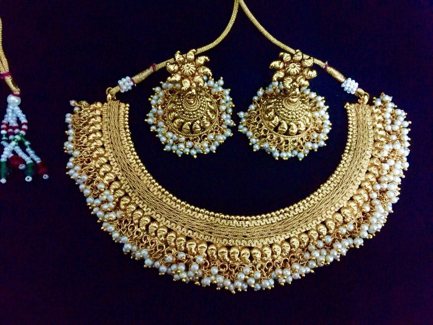 Gold Plated Indian Necklace | Gram Gold Pearl Necklace ...