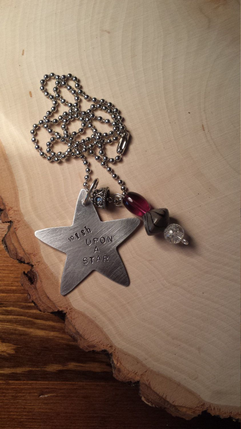 Wish Upon A Star Hand Stamped Metal Necklace with Charms by YaYouAlways on Etsy