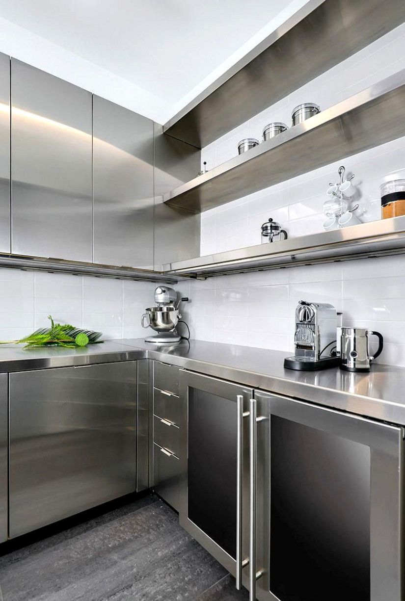 Highland Park Kitchen Clean And Modern Kitchen Design Stainless Steel Kitchen Stai Industrial Kitchen Design Kitchen Design Stainless Steel Kitchen Cabinets