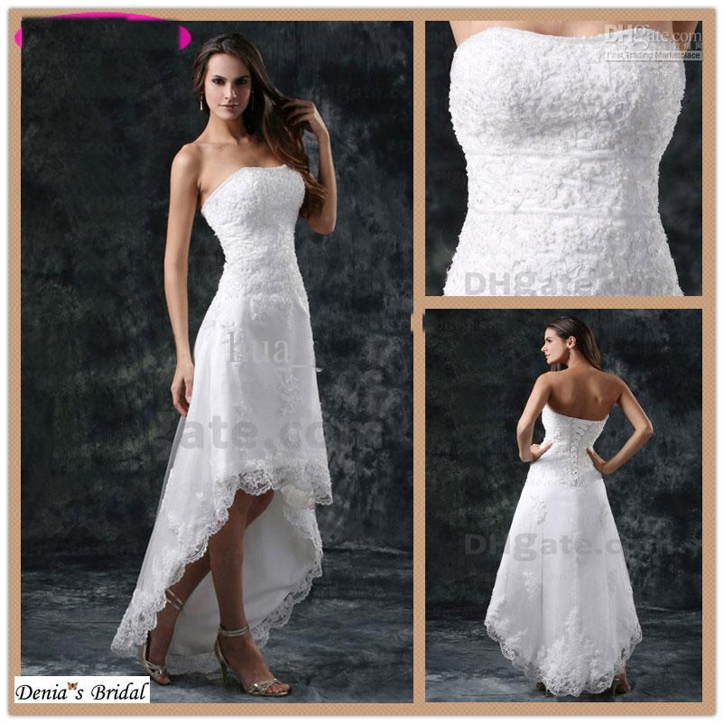 Best Beach Wedding Dress Hi Lo High Quality White Hi Lo Wedding