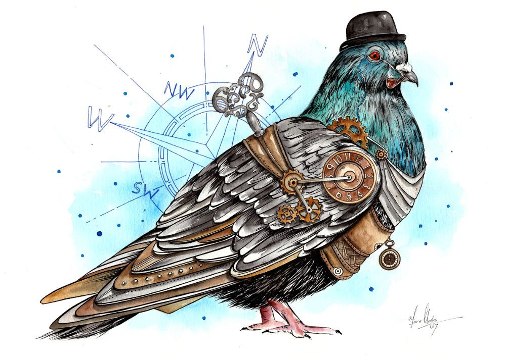 Another funky steampunk creation of this grey pigeon. A ...