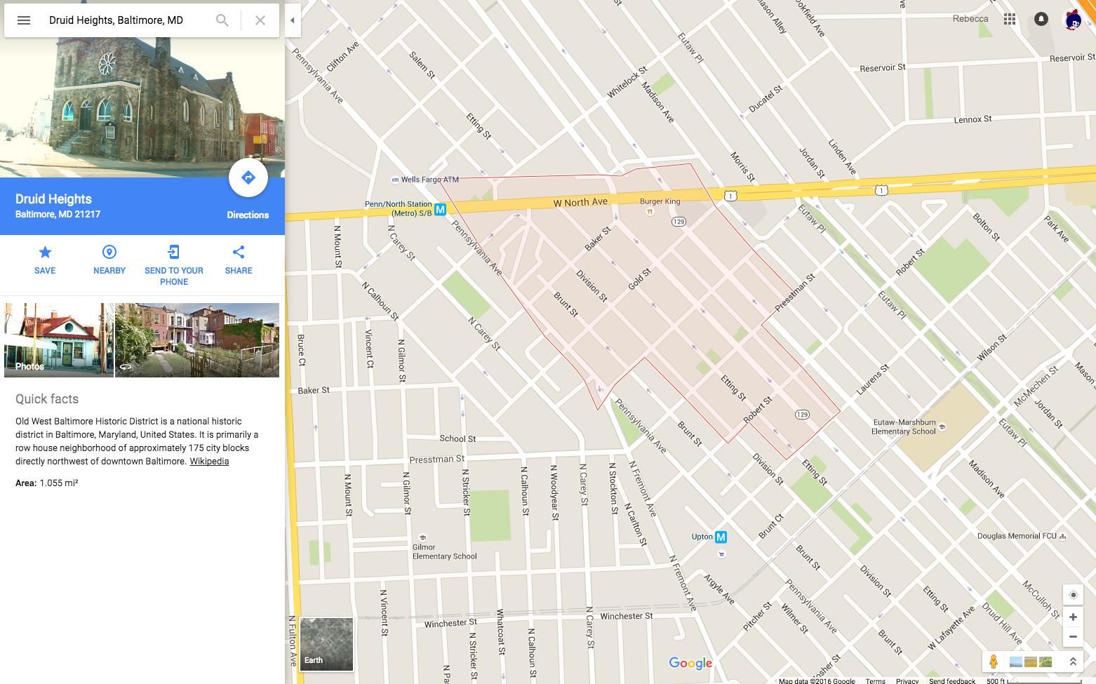 Druid Heights Neighborhood   Baltimore, MD google map view of ...