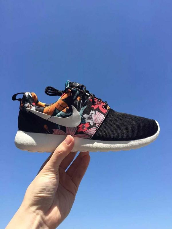 Buy Authentic Flower Goddess Nike 599432 090 Roshe Run Print Black Womens  Yellow Red Shoes-Cheap Real Nike Roshe Run Flower Womens For Sale