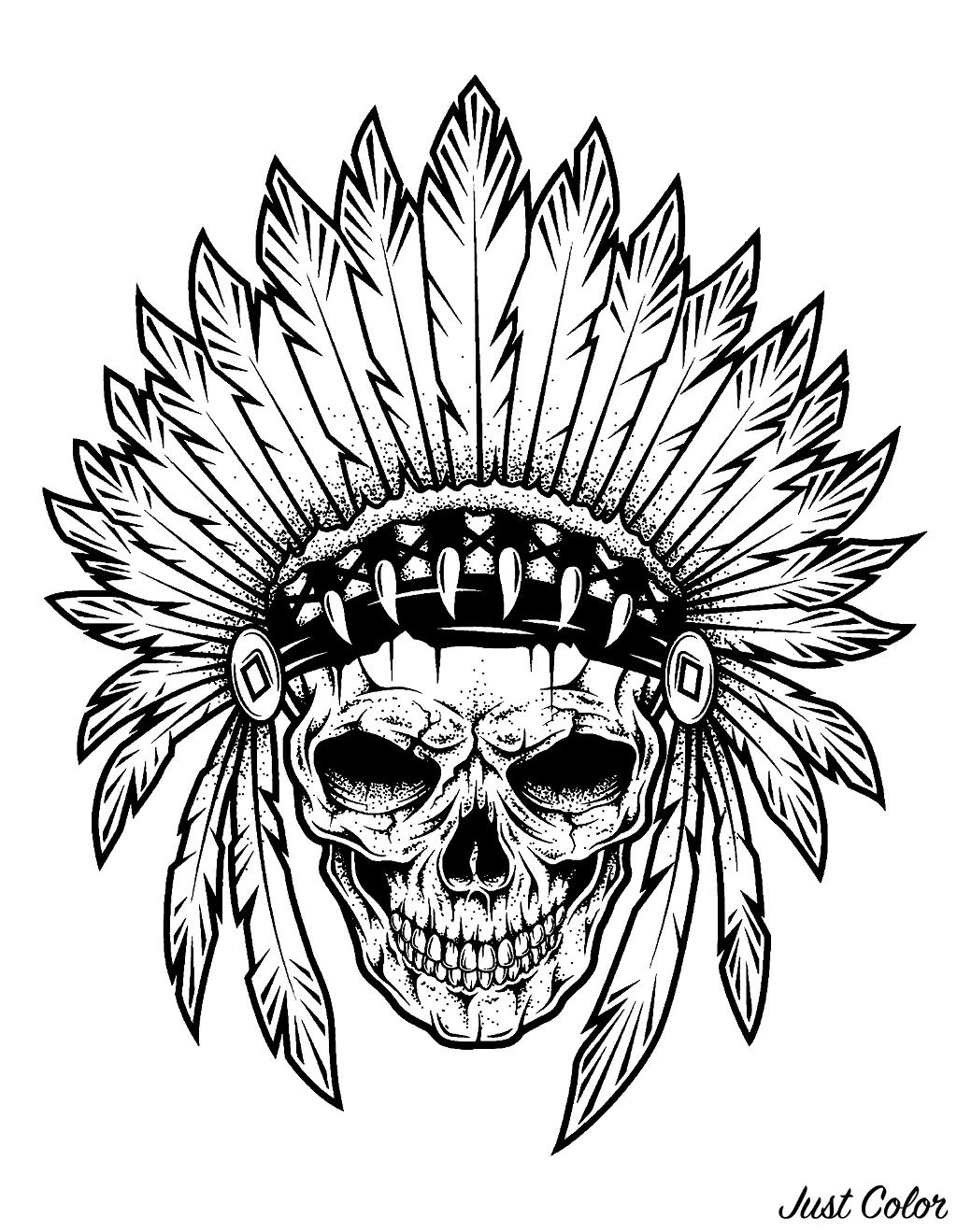 Indian Chief Skull Native American Coloring Pages For Adults