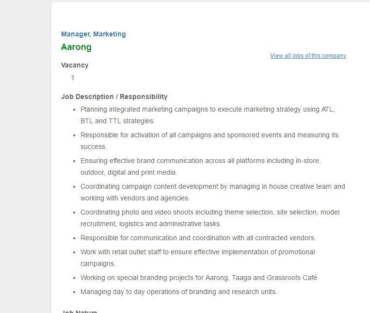Aarong Manager  Marketing Job Circular January   Vacancy  Job
