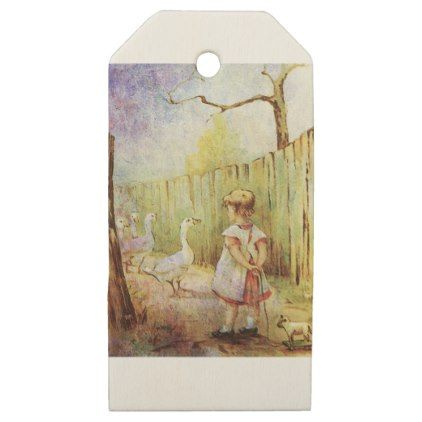 Out For A Morning Stroll With Her Geese Wooden Gift Tags