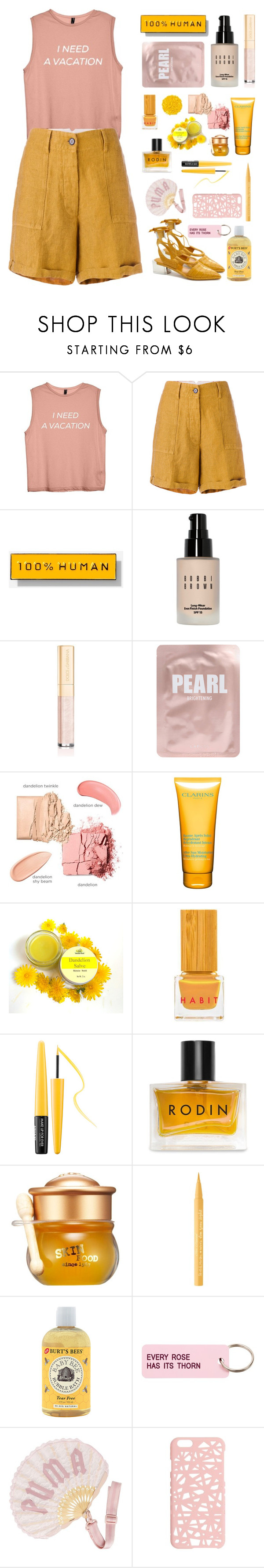 """""""Pink and yellow"""" by fanfanfann ❤ liked on Polyvore featuring Forte Forte, Everlane, Bobbi Brown Cosmetics, Dolce&Gabbana, Lapcos, Clarins, Illamasqua, Habit Cosmetics, MAKE UP FOR EVER and Rodin"""