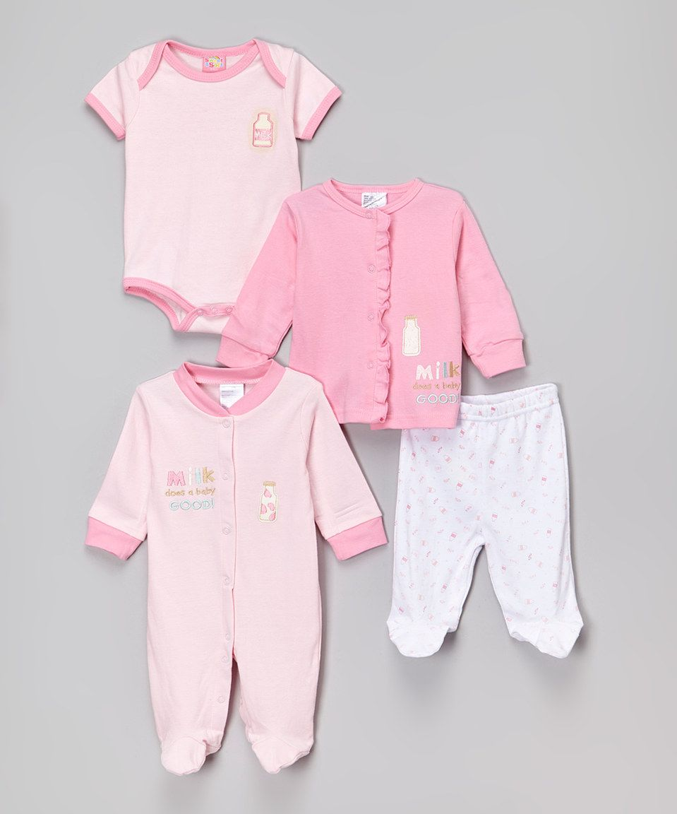 Another great find on #zulily! Sweet & Soft Pink 'Milk Does a Baby Good' Footie Set - Infant by Sweet & Soft #zulilyfinds