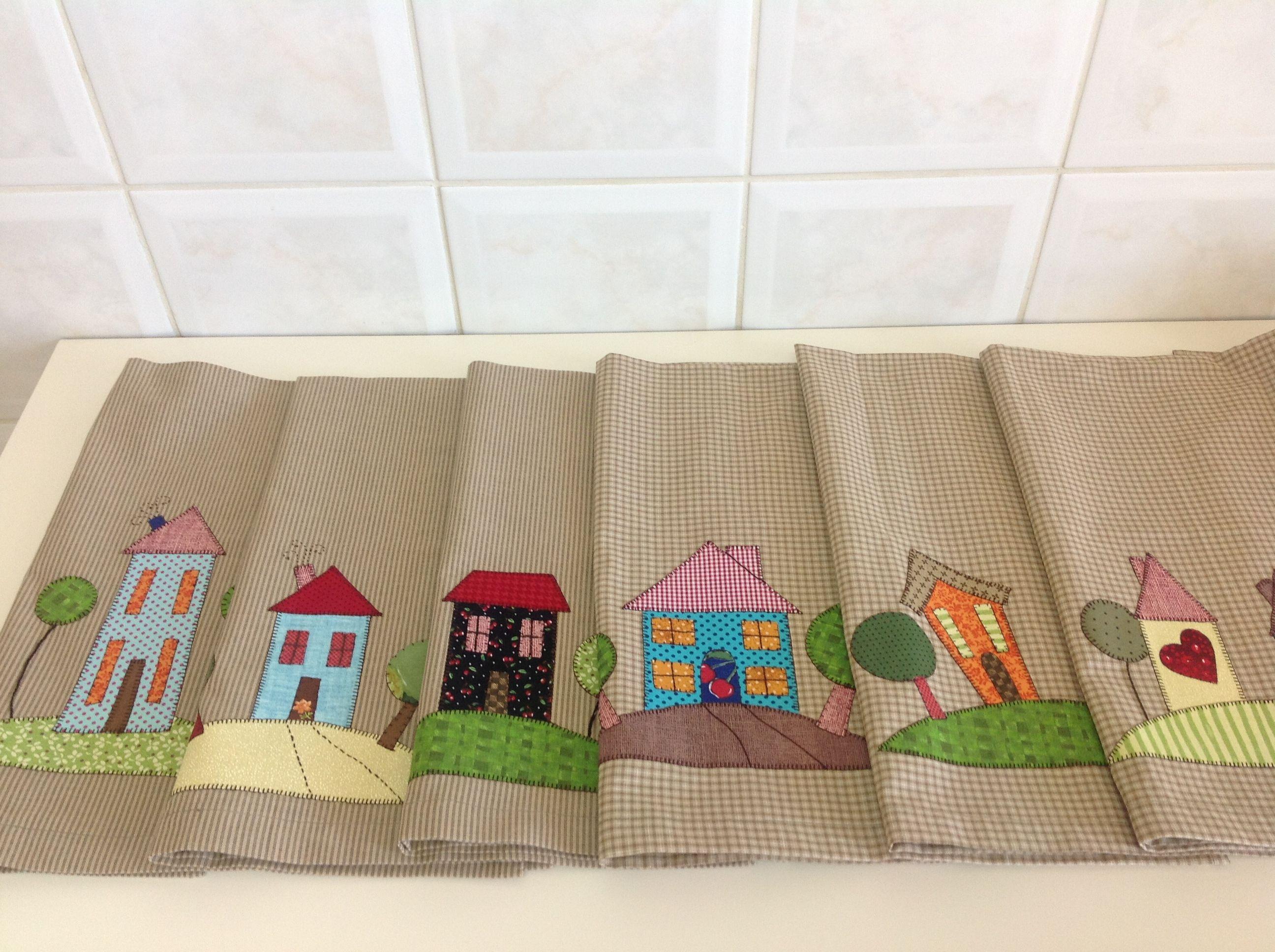 Panos de prato- coleção Home Sweet Home. Tea towels.   Patchwork ...