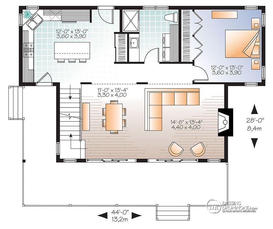 Détail du plan de Maison unifamiliale W3965 House plans