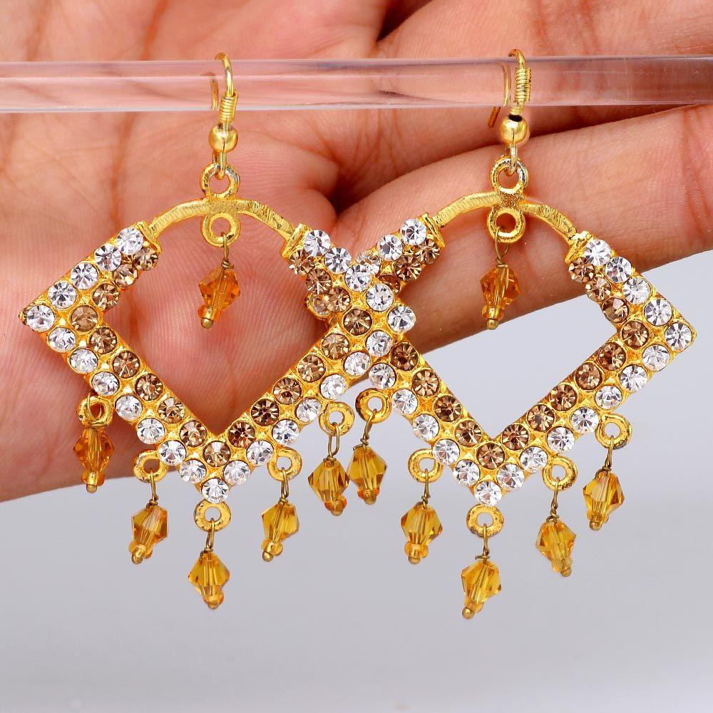 Golden and Silver Crystal Studded Designer Earring, earrings for ...
