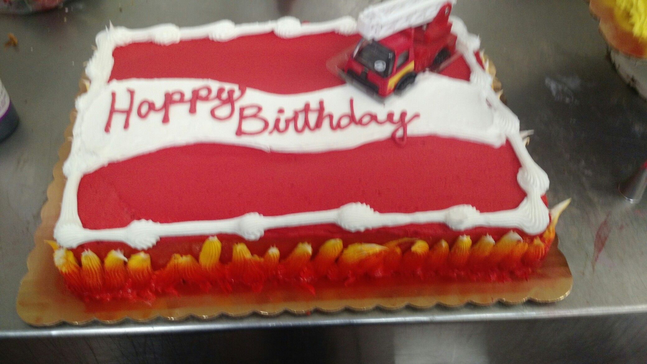 Stupendous Firetruck Cake On Fire Cake Sheet Cake Personalised Birthday Cards Vishlily Jamesorg