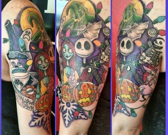 Nightmare Before Christmas Half Sleeve Tattoo Nightmare Before Christmas Tattoo Christmas Tattoo Tattoos
