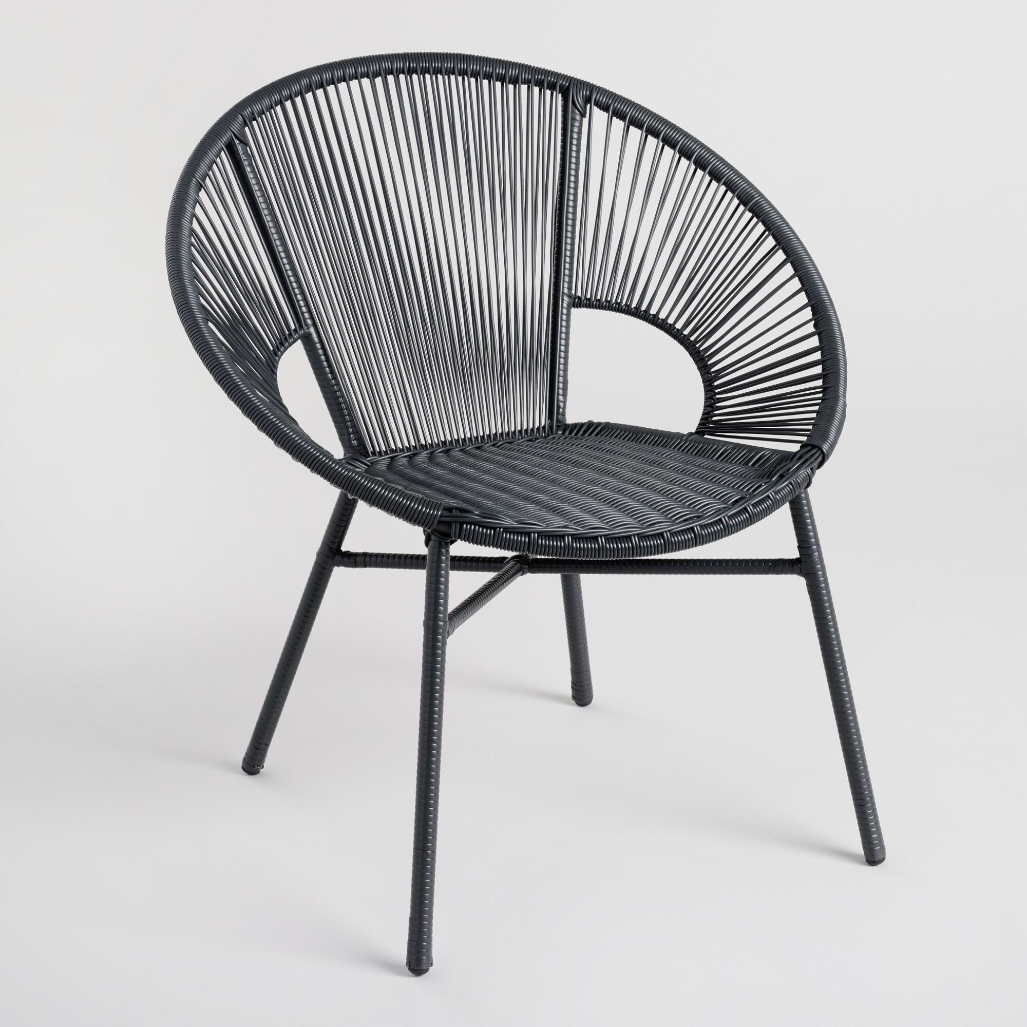 Sensational Round Black All Weather Wicker Camden Outdoor Patio Chair By Machost Co Dining Chair Design Ideas Machostcouk