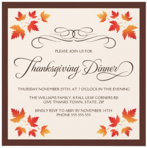 Brown and cream colored Thanksgiving dinner invitation with autumn