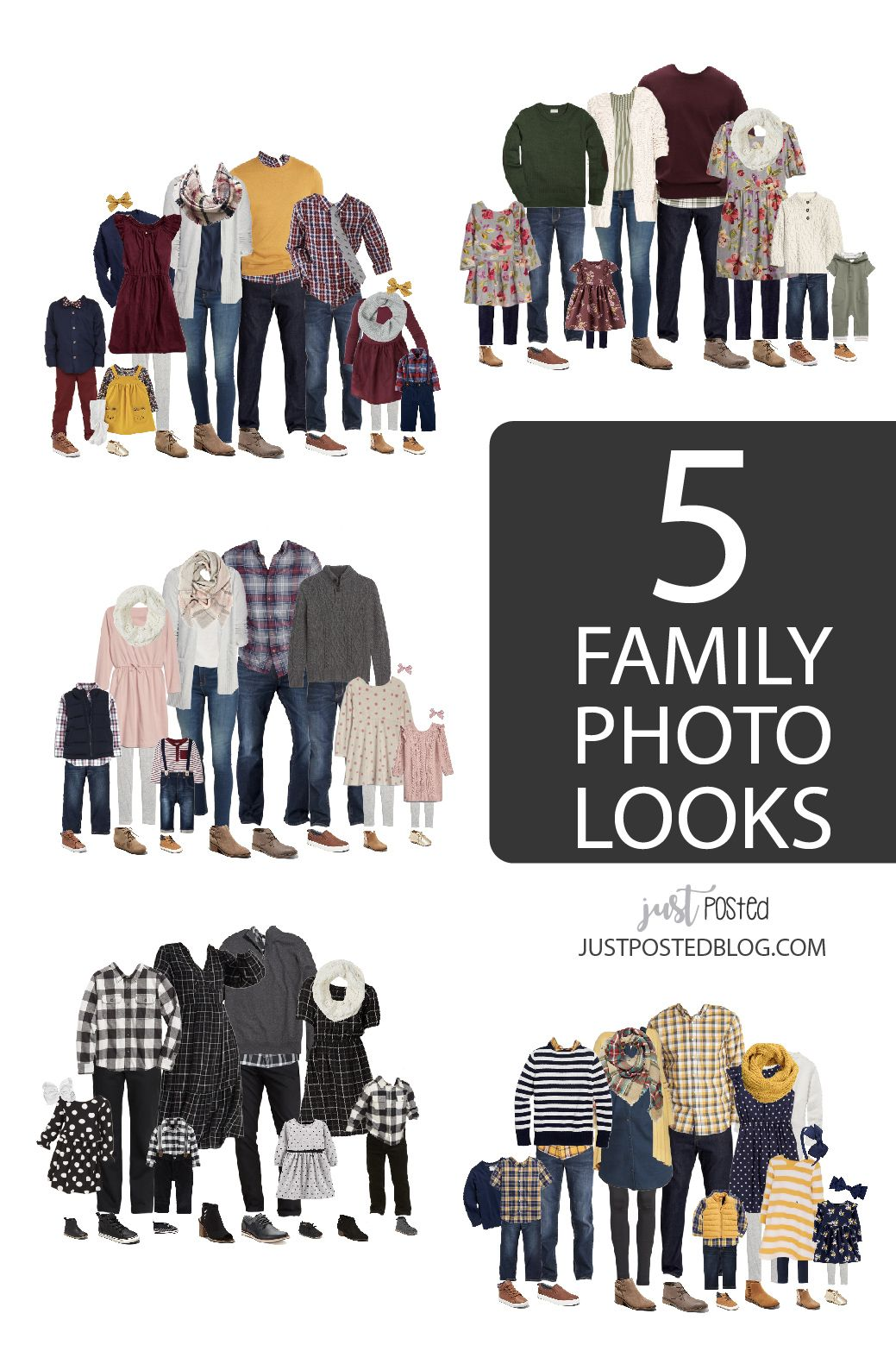 What to Wear for Family Pictures! Lots of coordinating looks for the entire family. #familyphotooutfits