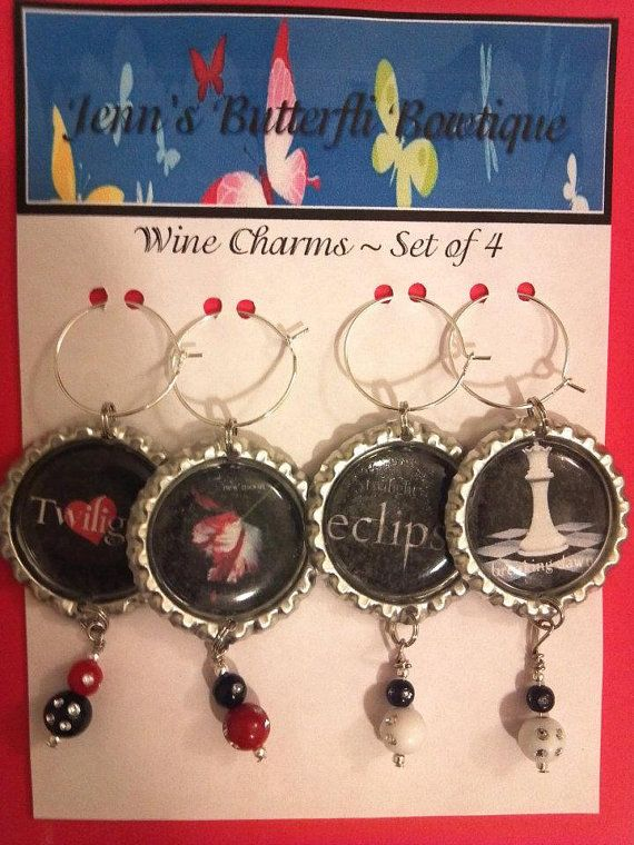 Twilight Inspired Wine Charm Set  Set of 4  by ButterfliBowtique, $11.00