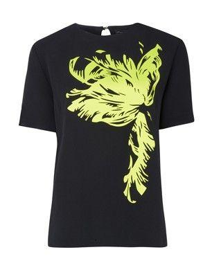 Jonathan Saunders Black Jordan Short Sleeve T Shirt #jonathansaunders #shortsleeve #tshirt #tee #lime #yellow #bright #ss14