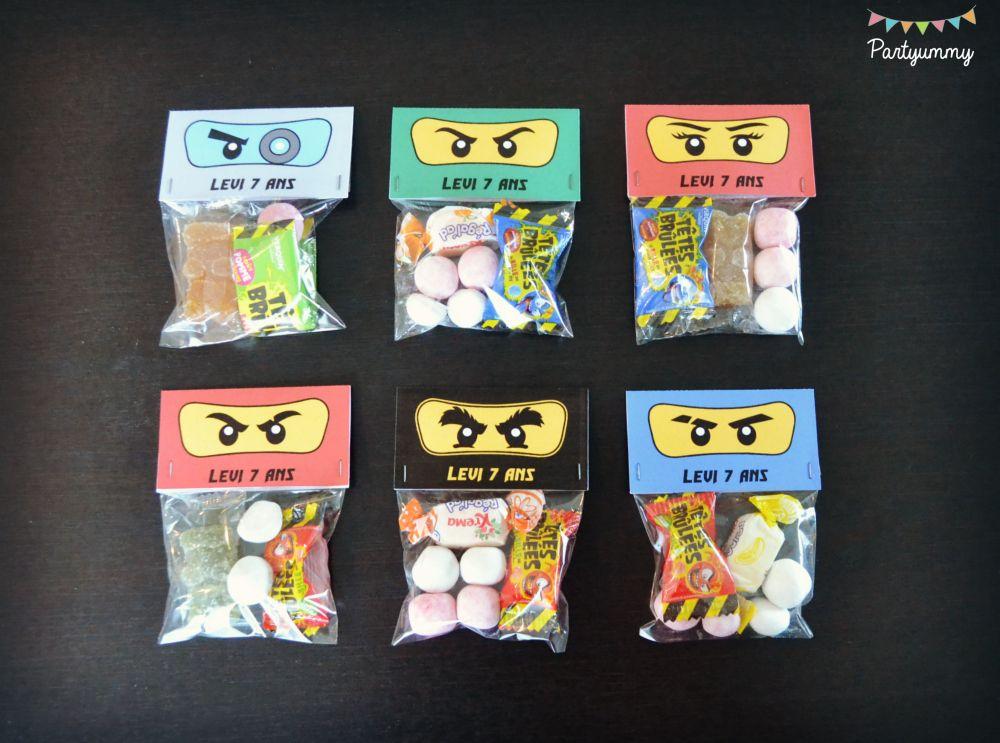Anniversaire lego ninjago sachets de bonbons candies ninja party pinterest lego ninjago - Fabriquer sachet bonbon anniversaire ...