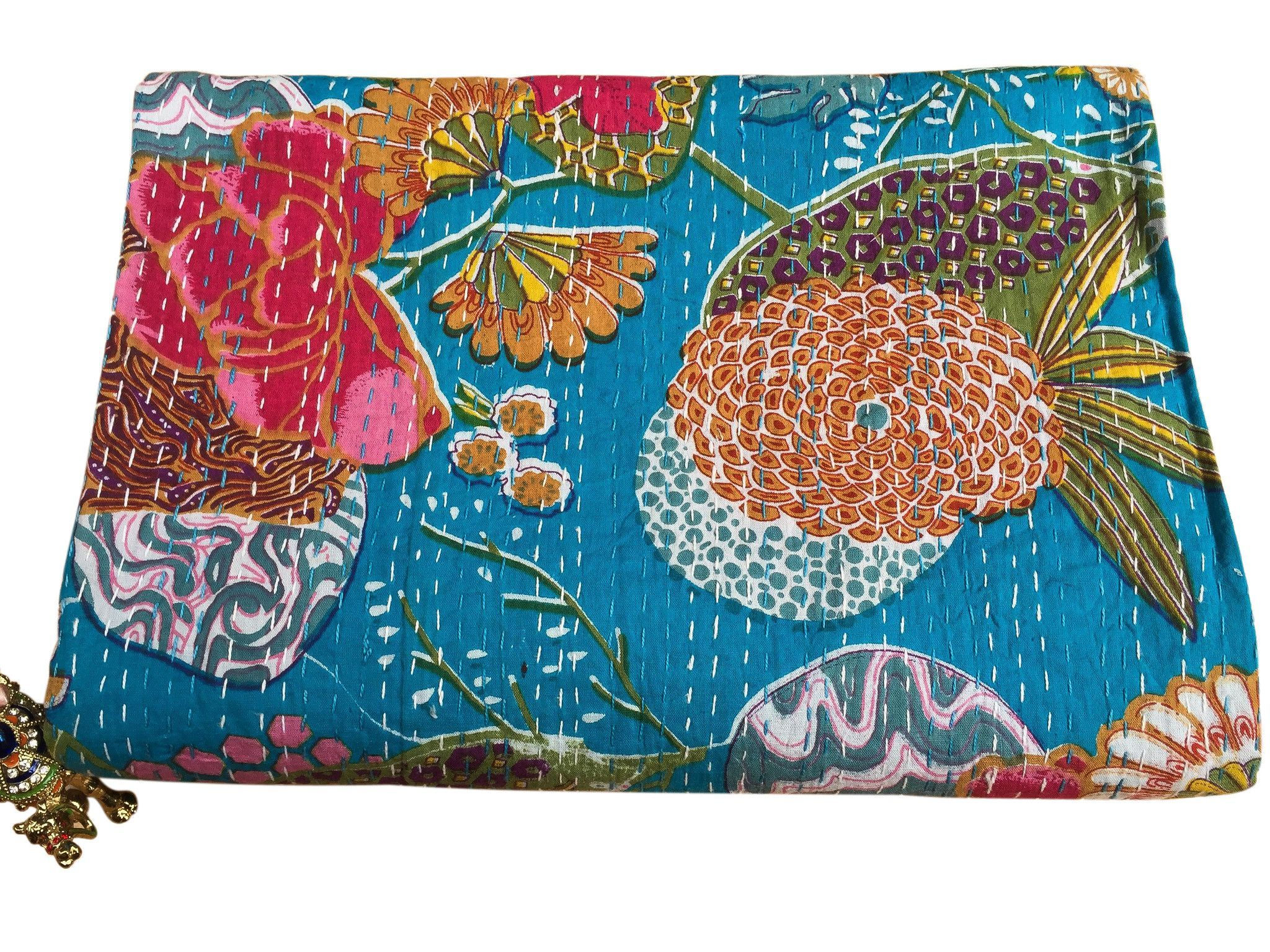 Cotton Kantha Reversible Quilt in Blue