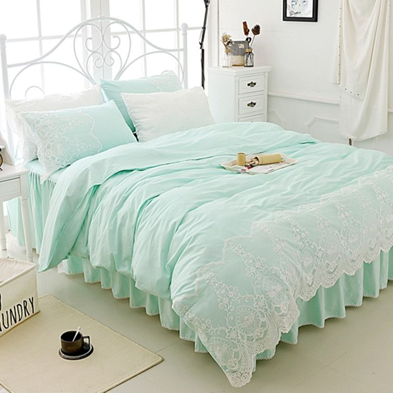 Essential Home Complete Bed Set Chevrongray Mint Green Bed