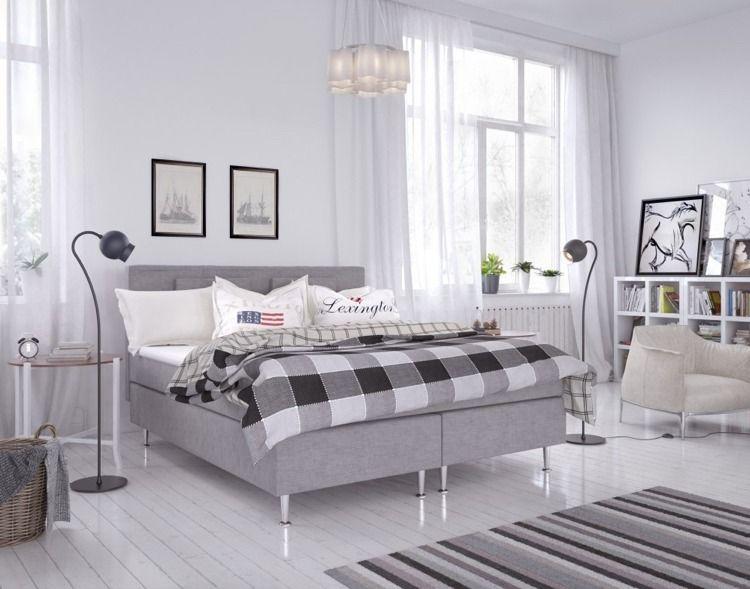 hellgraues Boxspringbett mit Metallfüßen Schlafzimmer ☆ bedroom - möbel höffner schlafzimmer