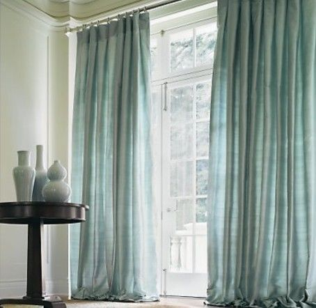 Silver Sage And Silk Drapes