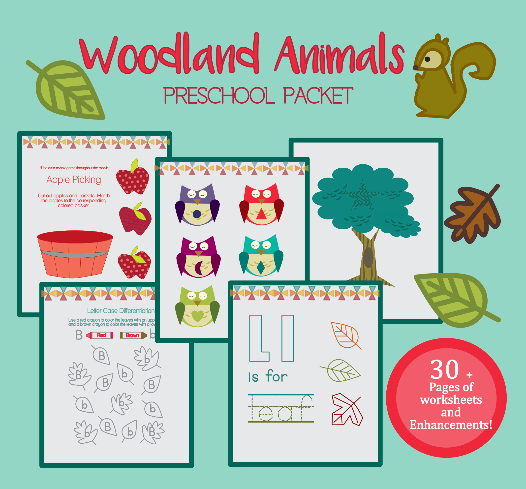 Pre K Pack Autumn Woodland Animals