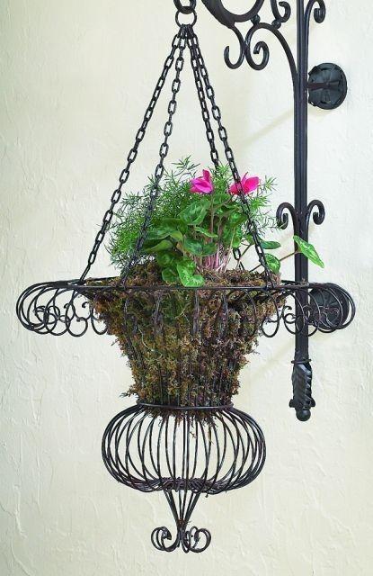 Metal Victorian Garden Iron Wire Hanging Basket Flower Pot Neiman Marcus Plant Myswankyhome Hanging Flower Baskets Flower Pots Metal Plant Hangers