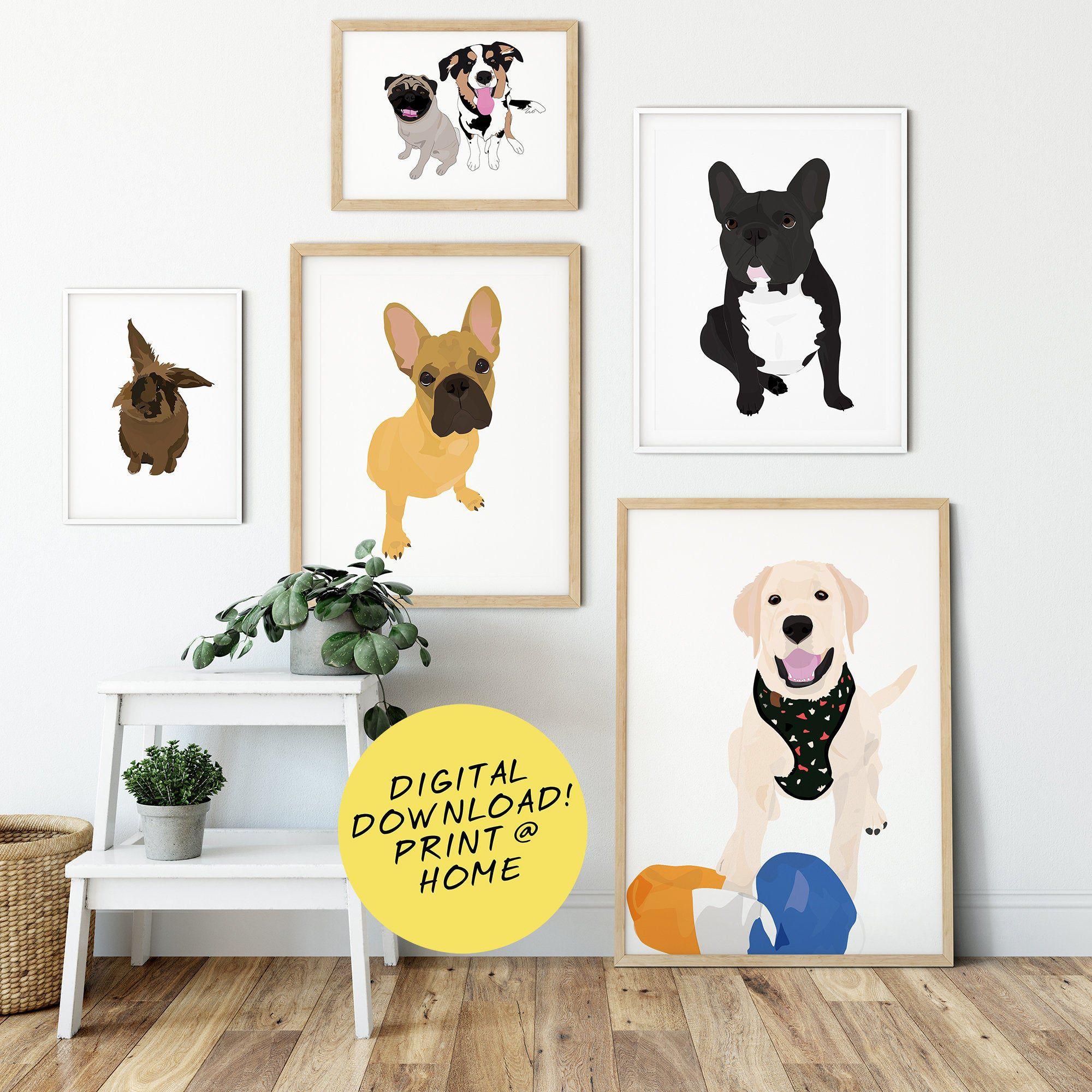 Portrait de chien personnalisé - Illustration - Cadeau- Pour elle - Pour lui - Animal de compagnie