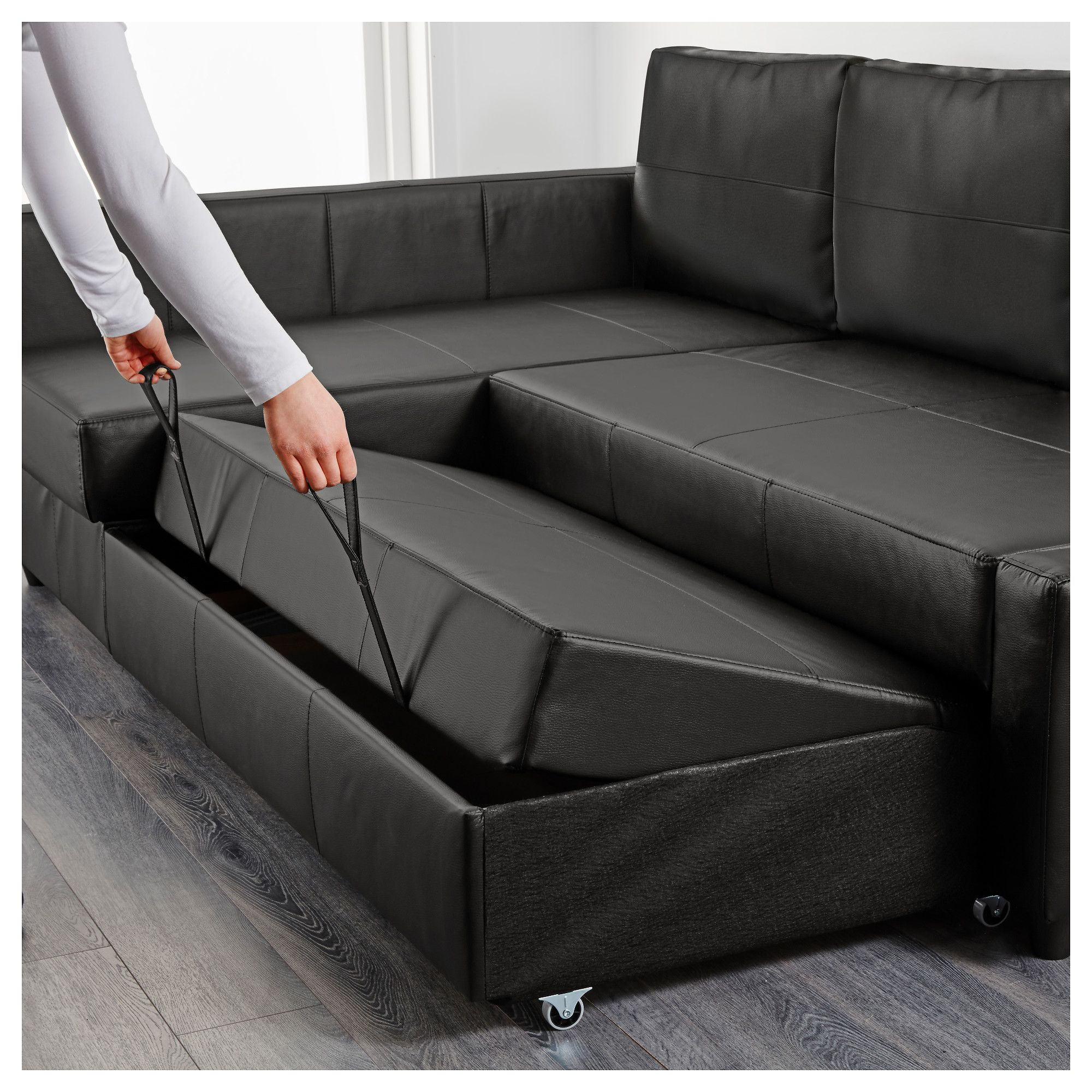 IKEA - FRIHETEN Corner sofa-bed with storage Bomstad black ...