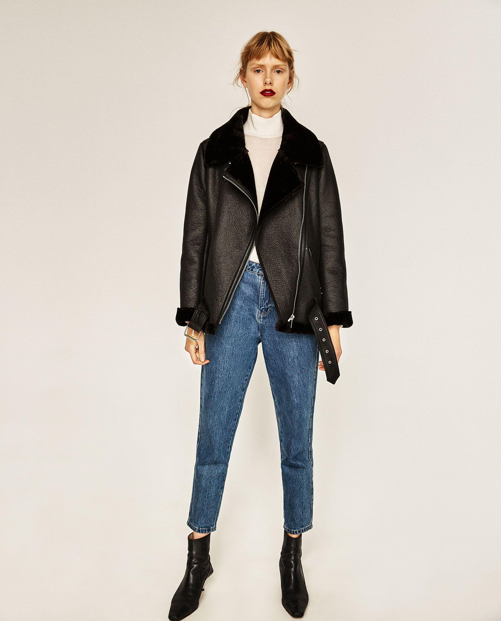 FAUX FUR COLLAR BIKER JACKET Jackets, Outerwear women, Zara