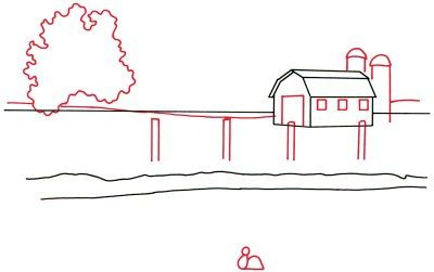 How To Draw A Barn And Pond In 5 Steps Pond Painting Drawings Barn Painting