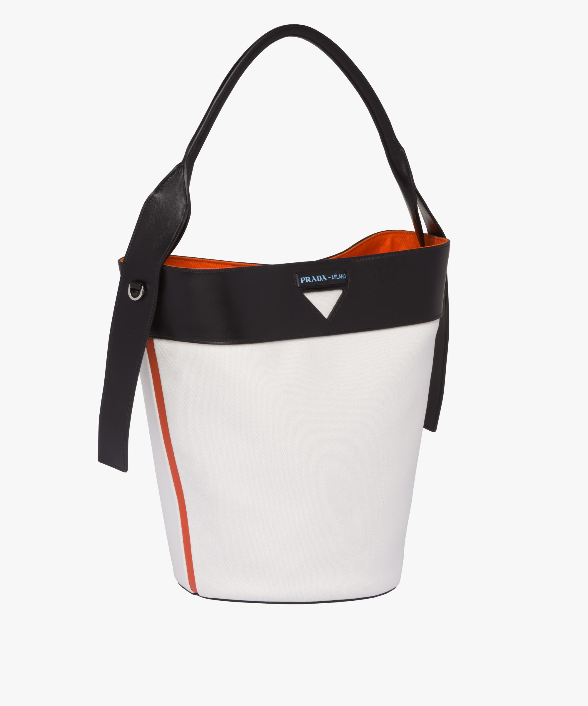70db1985c7e3 Prada - Prada Ouverture white, black & orange canvas & leather bag ...