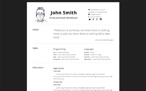 Resume Web Template Simply  Minimal Responsive Resume  Creative Cvs  Pinterest