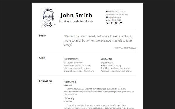 Simply  Minimal Responsive Resume  Creative Cvs