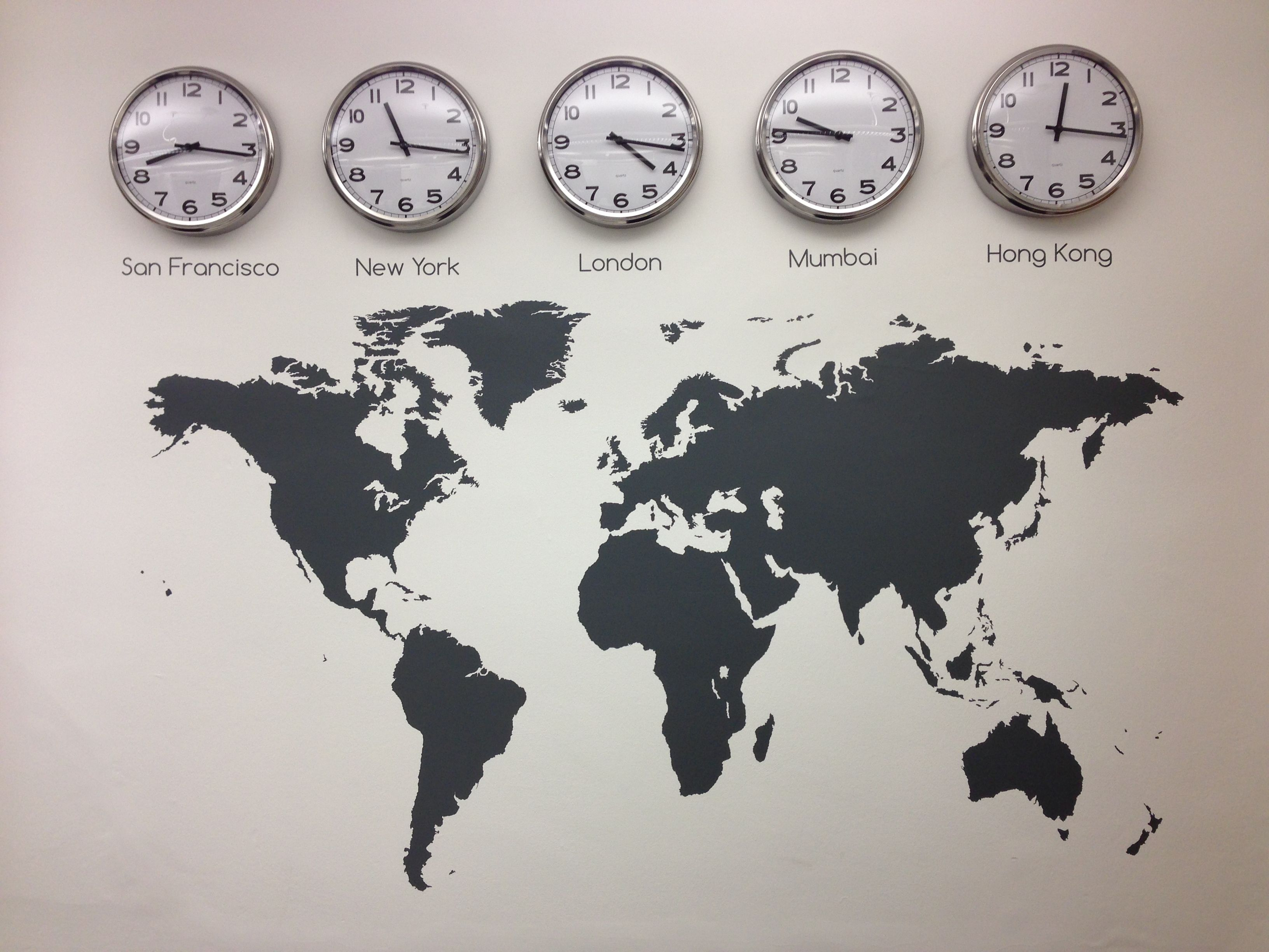 World map vinyl wall sticker time zones clocks and graphics vinylimpression why not mix our map with some clocks to show different time zone that reflect your business decals and graphics gumiabroncs Gallery