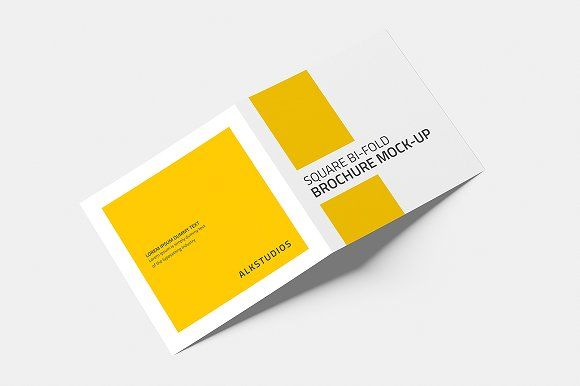 Square Bi Fold Brochure Mock Up Brochures Mockup And Brochure