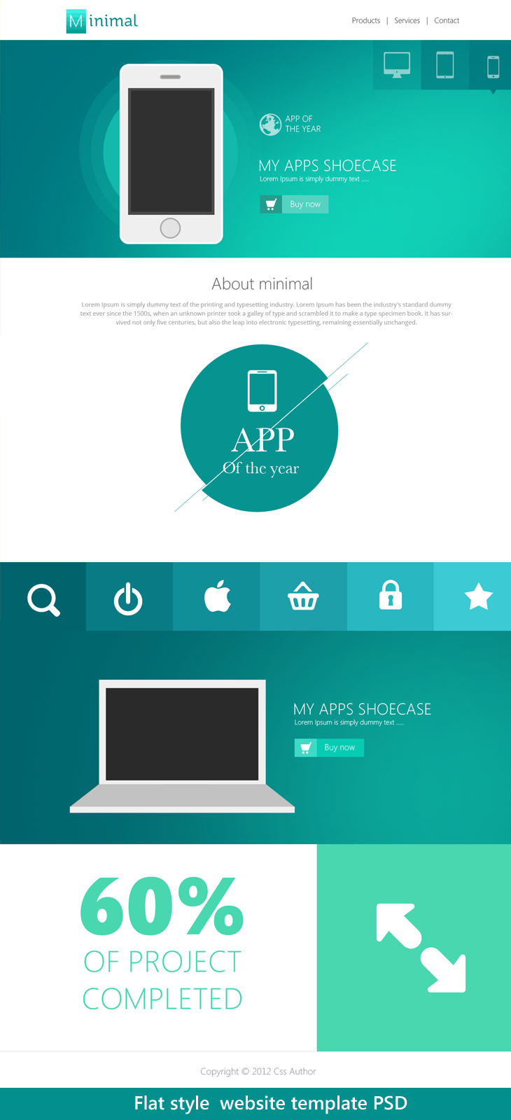 Flat Style Website Template PSD for Free Download - cssauthor.com ...