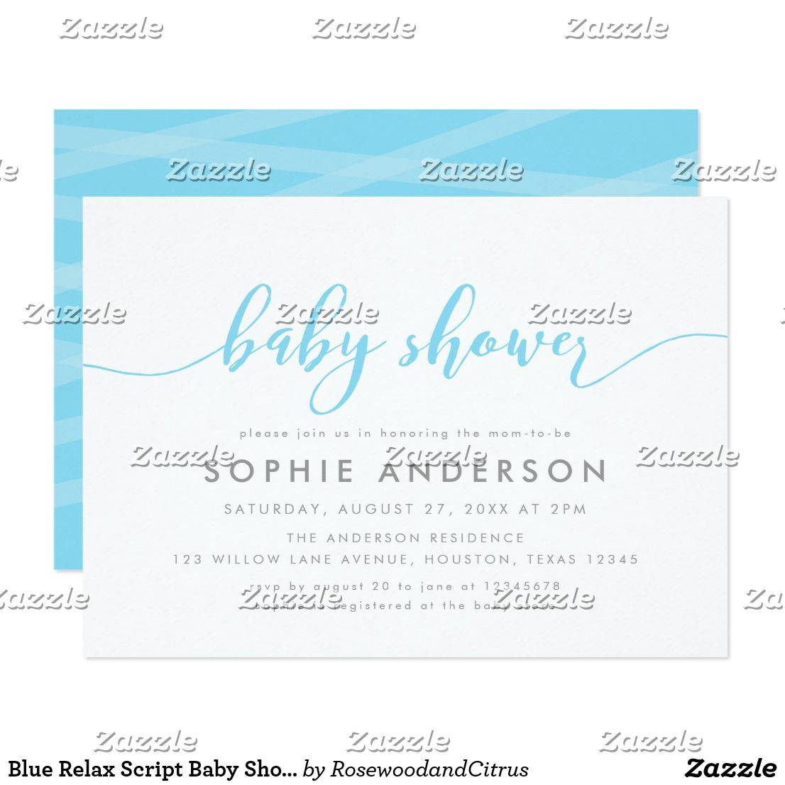 Blue relax script baby shower invitation babies and baby showers blue relax script baby shower invitation stylish baby shower invitation featuring the words baby shower in a relax cursive script in light blue against a filmwisefo