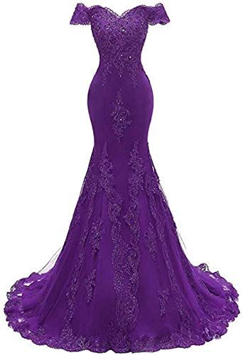 New Ai Maria Women's Shoulder 0ff Beaded Evening Gowns Mermaid Lace Prom Dresse online