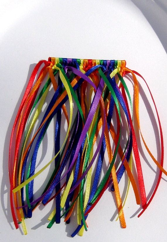 Rainbow Spectrum Waterfall Satin Ribbon Barrette by SpritelyGirl, $5.00 Great for Brownies / Girl Scouts Bridging Ceremony