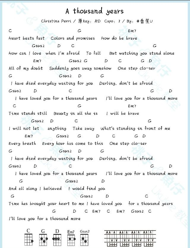 A Thousand Years Ukulele Chords Songs Ukulele Songs Guitar Chords For Songs