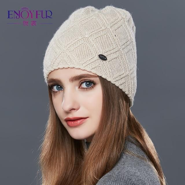 08cc257a313 ENJOYFUR Knitted Wool Beanies Autumn winter hat for women fashion female  ski skullies beanies thick warm hat for girls