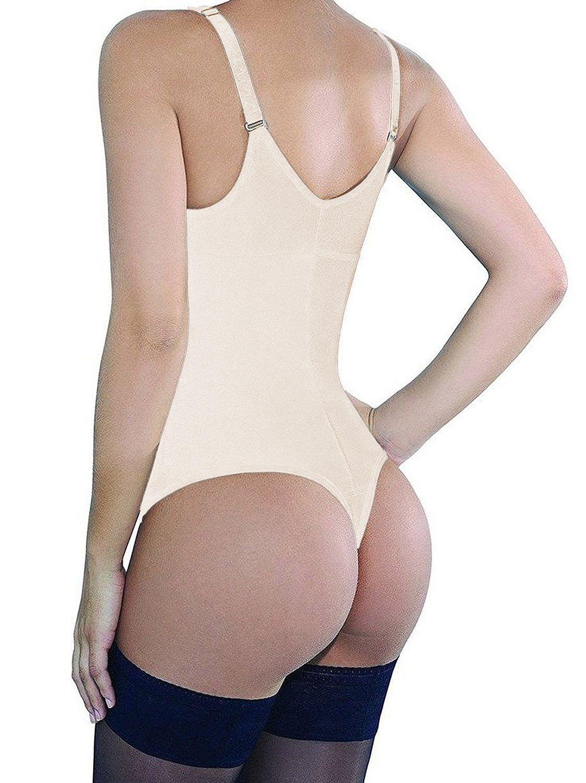 8036fa6cd2d Camellias Women s Body Shaper Seamless Latex Tummy Control Shapewear Zipper  Closure Open Bust Slimmer Belly Bodysuit Black