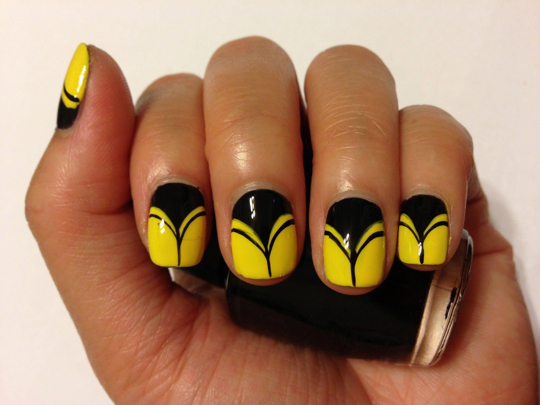 Diy Yellow Black Nail Art Unas Decoradas Dos Pinterest