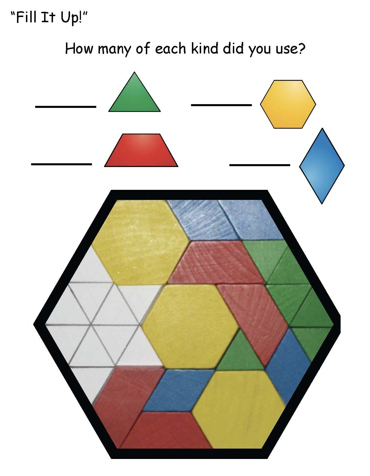 medium resolution of 2d shape activities shapes within a shape activities how many of these pattern block shapes can you find hiding in a hexagon