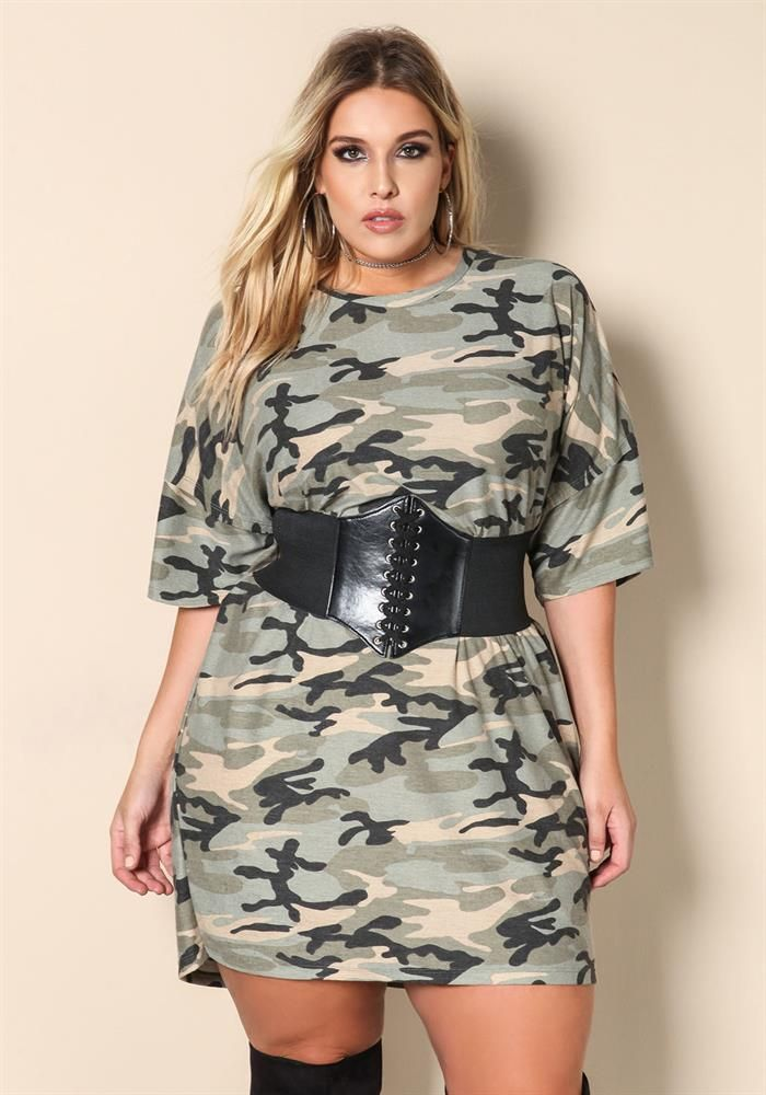 bea94a951c Plus Size Clothing | Plus Size Camo Corset Belted Shift Dress | Debshops