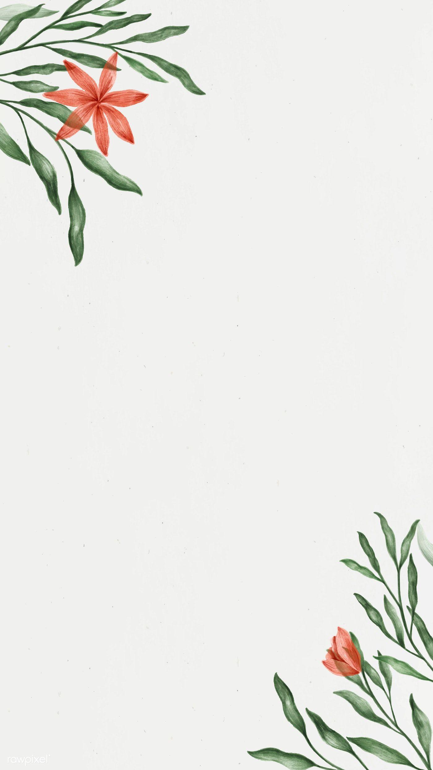 Download Premium Vector Of Floral Frame Design Mobile Phone Wallpaper In 2021 Floral Poster Plain Wallpaper Iphone Flower Illustration